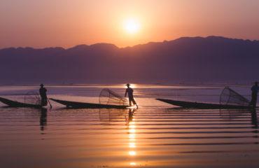 Intha fishermen working in the morning, Inle Lake_424690084