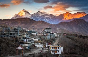 Dhaulagiri view from Muktinath Annapurna Circuit trek in Nepal_633128300